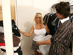 Seth Gamble wants to give away his clothes to charity and Holly Halston is by to pick up the goods.  Little does he know that he's going to end up getting the goods.  Holly's tight pussy and yummy titties are things he'll need in this tough economy!  Givi